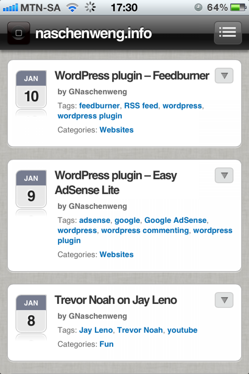 WordPress plugin - WPTouch Pro - turn your blog into an iOS