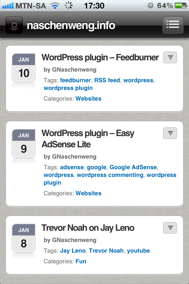WPTouch - turn your WordPress blog into a mobile application for iPhone
