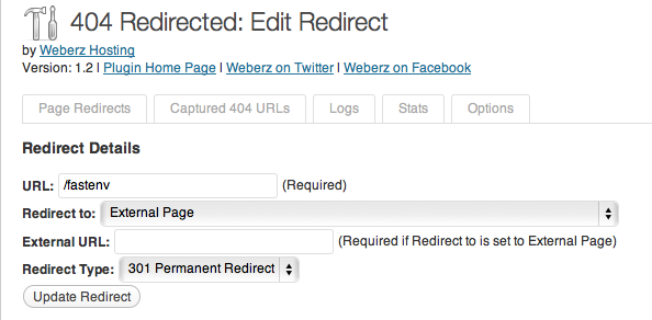 Wordpress Plugin 404 redirected - manual redirects