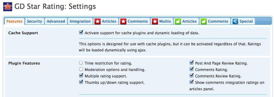 WordPress plugin - GD Star Rating