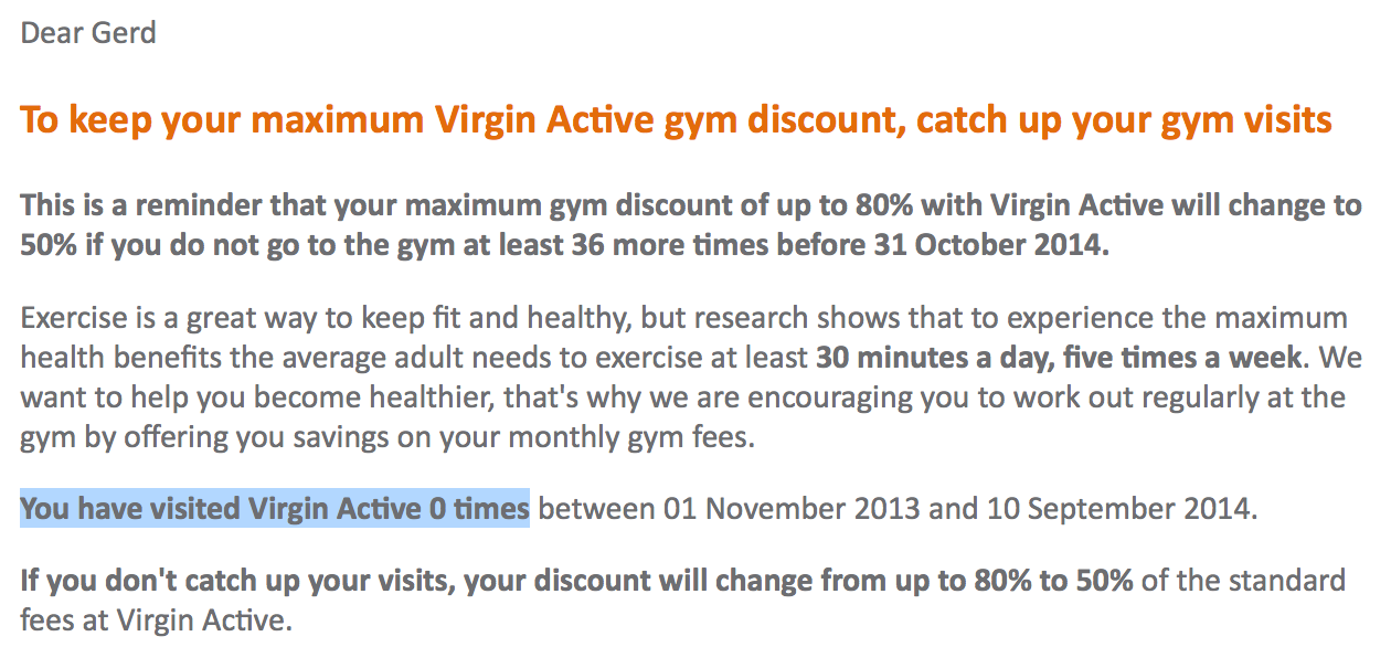 Discovery Health Vitality does not reward a healthy life style