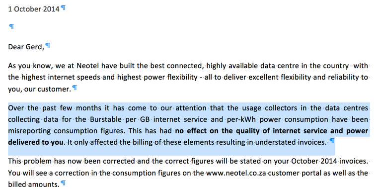 Letter from Neotel regarding it's inability to collect and report usage data correctly