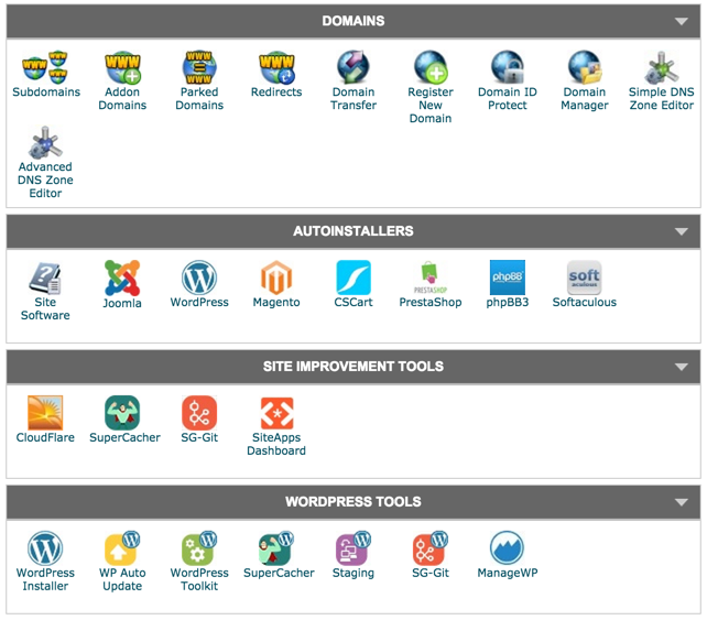 SiteGround cPanel with domain management, auto installers, site improvement tools, wordpress tools