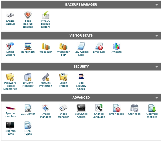 SiteGround cPanel - backup manager, visitor stats, security tools, shell access
