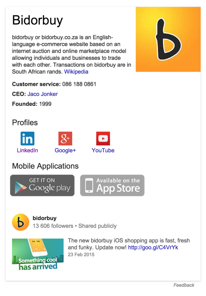 Mockup - Google Knowledge Graph with app icons