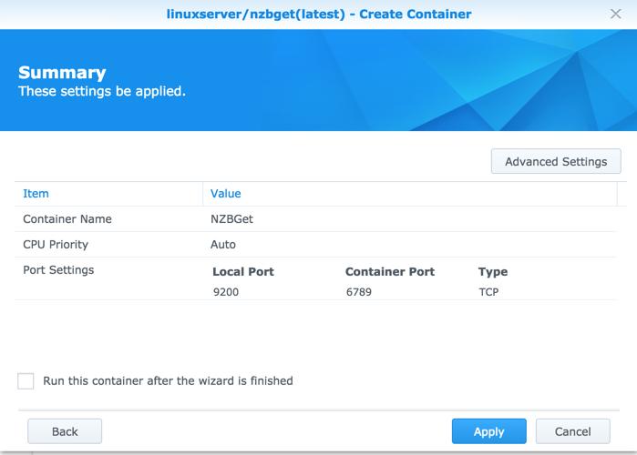 Run NZBGet via Docker on Synology DSM 6 0 | naschenweng info
