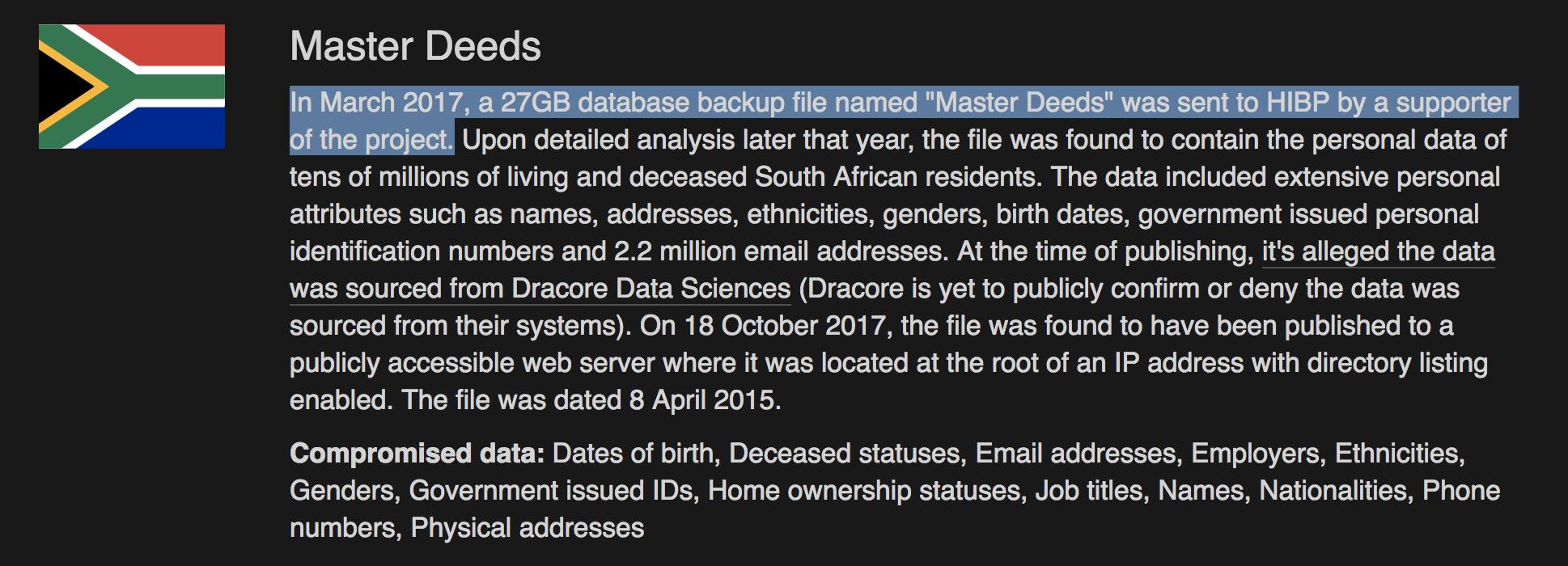 South African Master Deeds data leaked via MySQL data dump